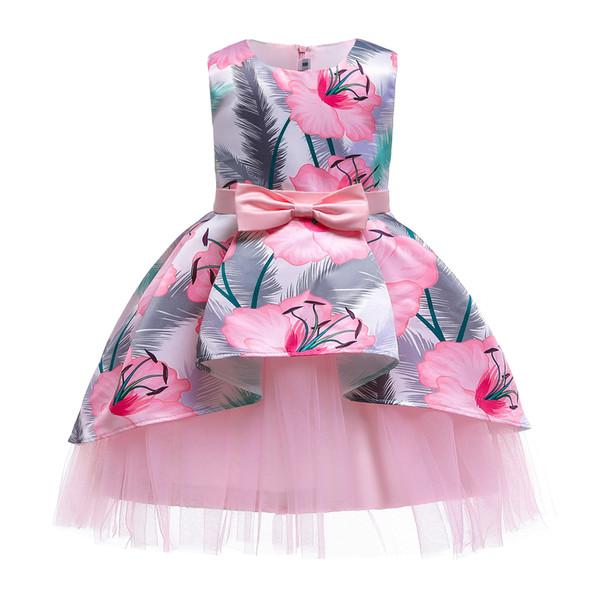 Summer Floral Bébé Fille Princesse Robe sans manches fête de mariage Pageant robe