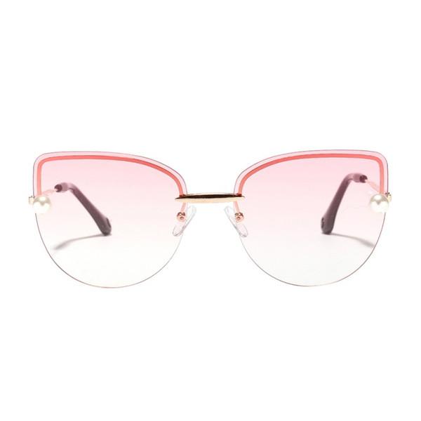 Randlose Cat Eye Diamantförmige rahmenlose Sonnenbrille Klare, farbige Linse Festival Big Frame Shades Brille Blau Rosa Linse UV400
