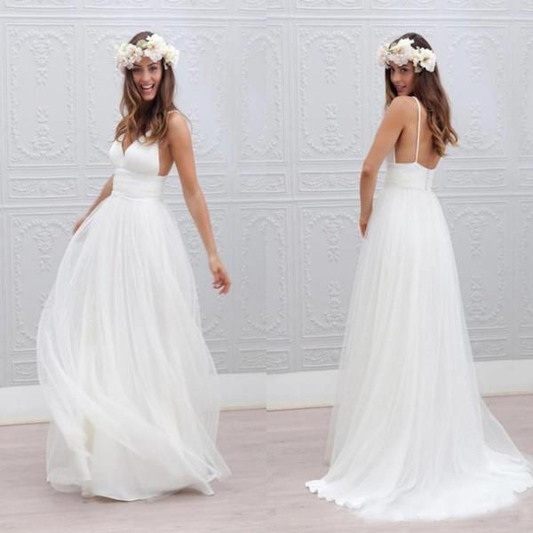 Vestidos De Casamento Estilo Princesa Vestido De Noiva Com Alça De Espaguete V Neck Profundo Boho Vestido De Noiva A Line Ruched Sem Encosto Vestido