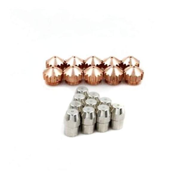 20pcs électrodes de coupeur de plasma 0408-2404 embouts de buse 0408-2262 1.2mm pour SAF