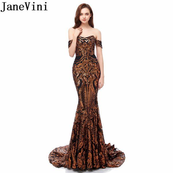 JaneVini Long Black Gold Блестки Пром платья African Русалка платье партии Sweep Поезд Блестящий пайетками Женщины Вечерний Gowns 2019