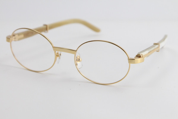 top popular 2020 Hot sale Eyewear Vintage Eyeglasses White Genuine Natural Horn Optical Classic pilots Metal Men 18K Gold Metal Glasses C Decoration 2021