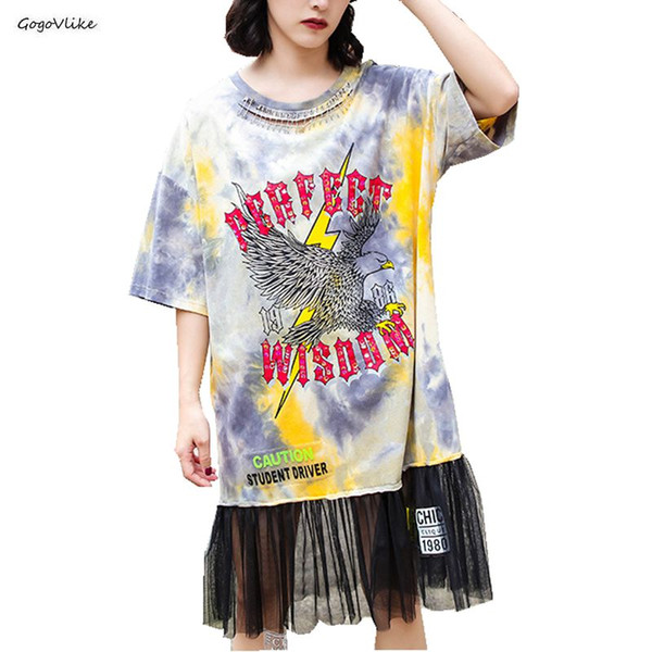 Tie Dye Tulle Dress Eagle Print Women Summer Hollow Out Pins Dresses Female Yellow Hiphop Oversized Punk Lace Dresses SA013S50
