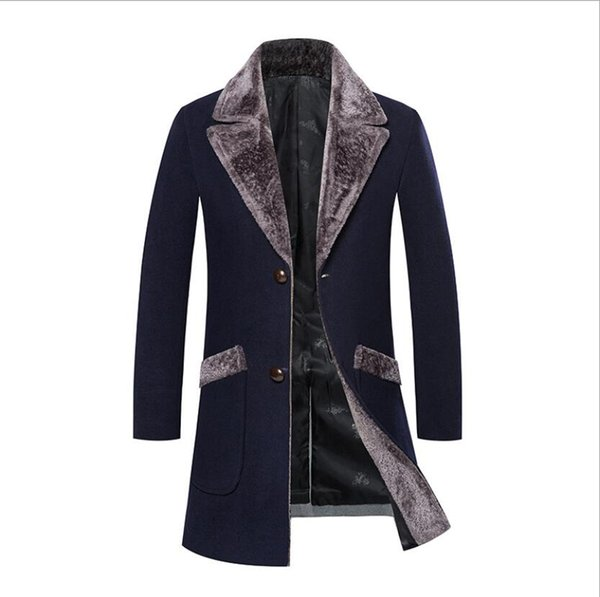 Fashion Trench Coats for Men Lapel Single Breasted Mid-long Winter Warm Coat Men's Slim Trench Coat