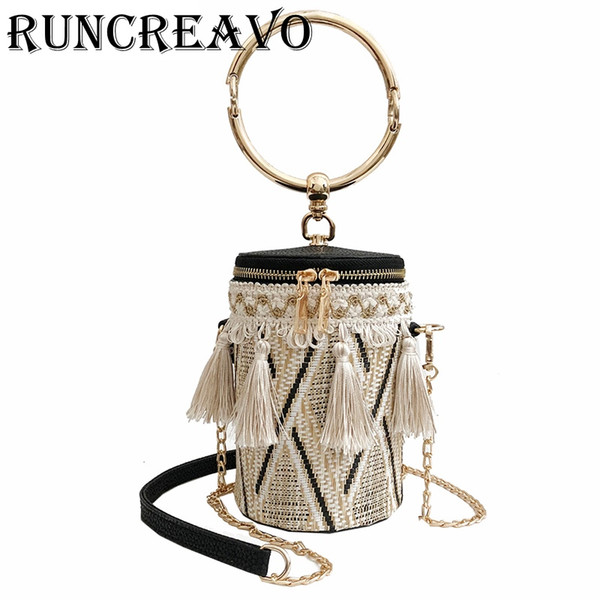 Japan Style Bucket Cylindrical Straw Bags Barrel-Shaped Woven Women Crossbody Bags Metal Handle Shoulder Tote Bag sac a main #216323