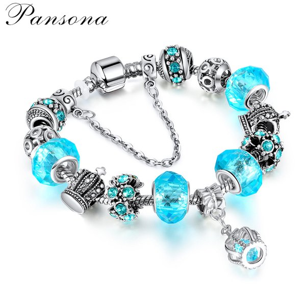 New Womens Jewelry Supply Crown Pendant Diamond Girl Heart Bracelet Cross-border Bracelet cheap DIY Beads BR009