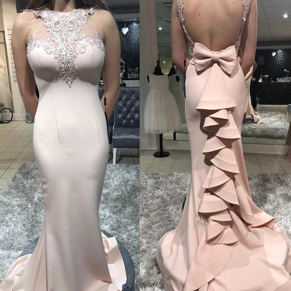 Sexy sin mangas de cuello alto sirena vestidos de baile de color rosa volantes apliques sin respaldo vestidos formales vestidos de fiesta de celebridades