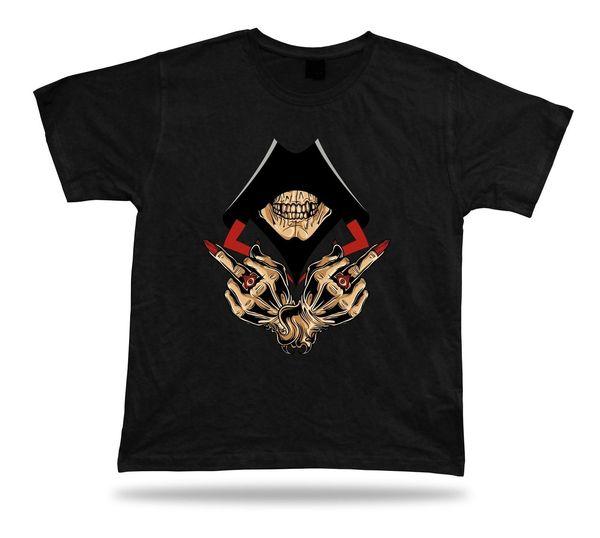 Skeleton Skull Hood Hand Sign Evil Eye Ring stylish design tshirt best gift Funny Tee Shirts Hipster O-Neck Cool Tops