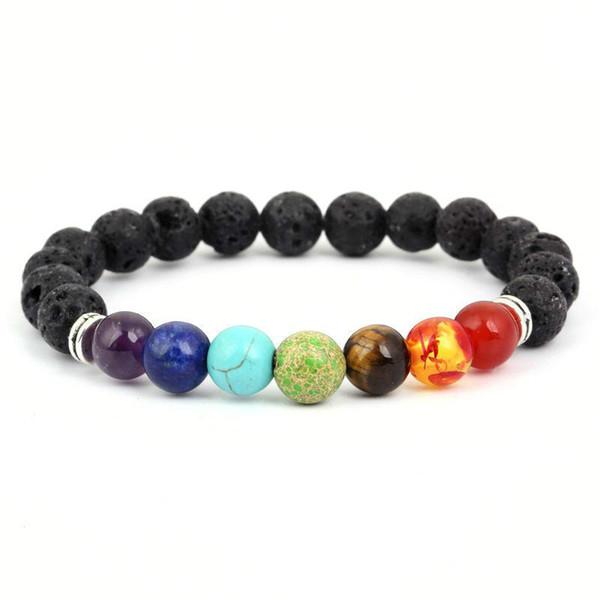 Bracelet, pierre de volcan volcanique noire naturelle 7 Bracelet de yoga en pierre de Chakra, guérison Reiki prière équilibre Bouddha Perles Bracelet