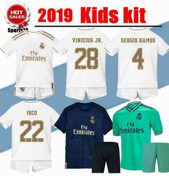 2020 Yeni Gerçek Madrid Çocuklar Kiti Tehlike JOVIC Futbol Formaları 2019 Ev Uzakta Çocuk Çocuk Gençlik Modrik ISCO ASENSIO SERGIO RAMOS Futbol Gömlekleri