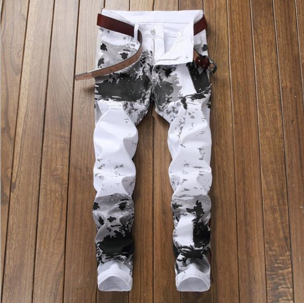 New American style jeans mens digital print pants self-cultivation flower pants fashion elastic feet casual trousers men white