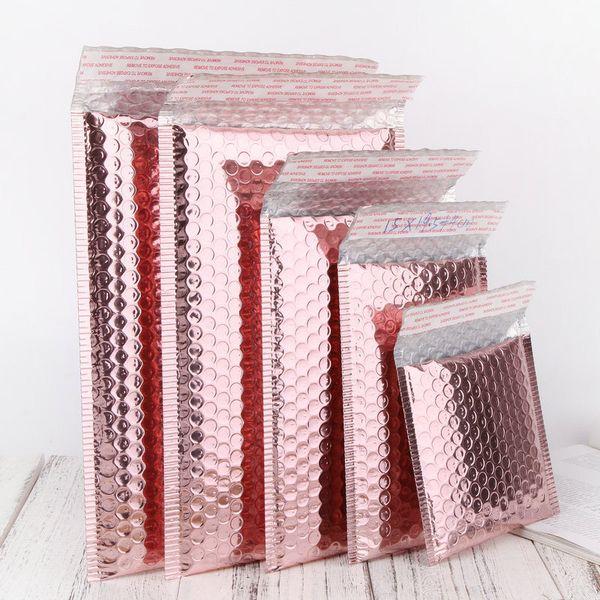 50pcs expreso burbuja envuelve el saco de rosa metálico lámina de oro burbujea anuncio publicitario de embalaje de regalo del favor de la boda del paquete de Cine Bolsas
