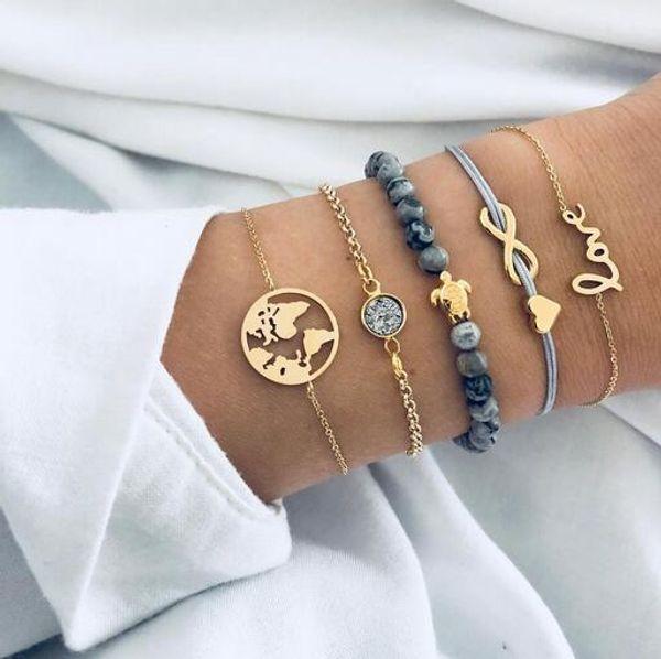 2019 böhmischen schildkröte charme armbänder armreifen für frauen mode gold farbe strang armbänder sets schmuck party geschenke