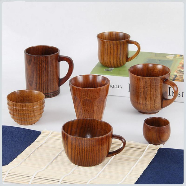 Großhandel Retro Chinesischen Stil Handgemachte Natürliche Hölzerne Teetasse Kreative Heimat Holz Kaffeetassen Drink Küchenzubehör