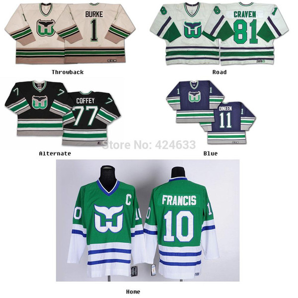 2016 blanc / personnalisé votre nom de nom / NO. Hartford Whalers maillot Home Away Autres maillots de hockey bleu-vert Broderie Logo Coudre