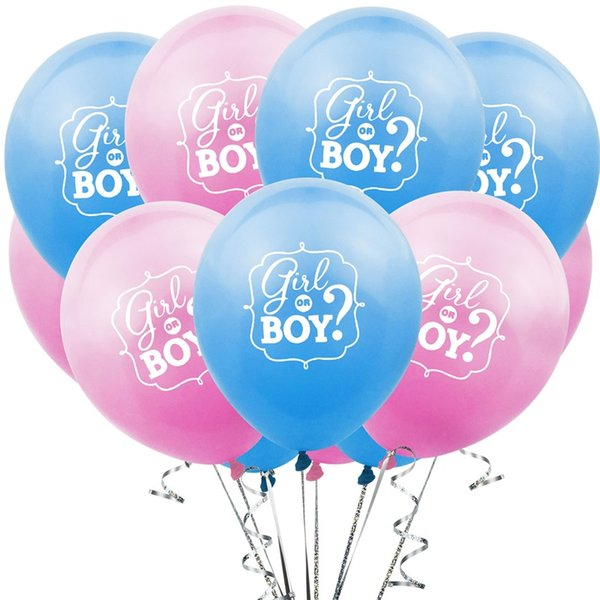 Gender Reveal Party Decoration Boy Or Girl 12 Inches Blue Pink Color Latex Printing Balloon Baby Shower Decorations 0 26zyE1