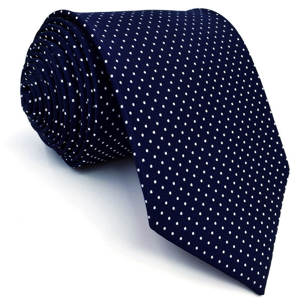 Patterns Dots Dark Blue White JACQUARD WOVEN 100/% Silk Men/'s Tie Necktie Hot