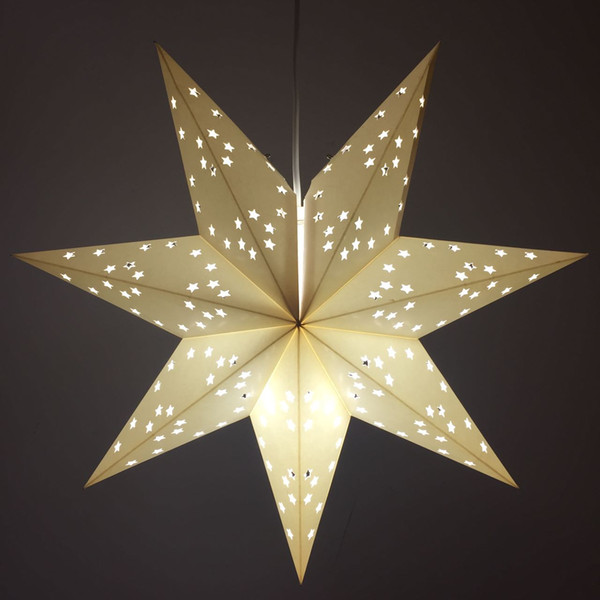 Wholesale Morden Craft Paper Party Pendent Lantern Light DIY Star Paper Lampshade Hollow Out Design Free Shipping