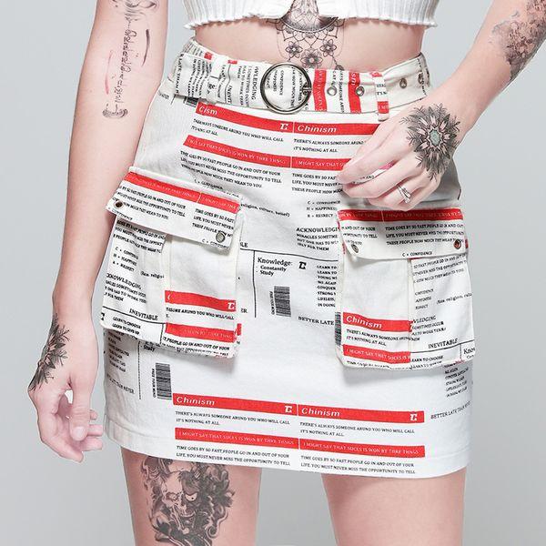 New Arrival Women Skirt Designer Digital Printed Dress Fashion Street Knit Newspaper Pattern Knit Skirt for Summer A-Line S-L Wholesale