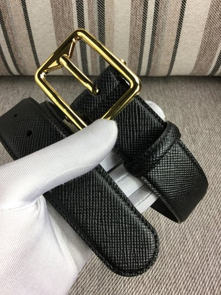New Style Classic Men's Business Casual Leather Belt Gold and Sliver Square Buckle Designer Belts +Original Box Can Be Wholesale
