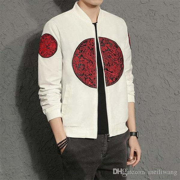 Autumn Jackets Men Fashion Chinese Style Embroidery Bomber Jacket Slim Fit Long Sleeve Stand Collar Coat Male Outwear big size
