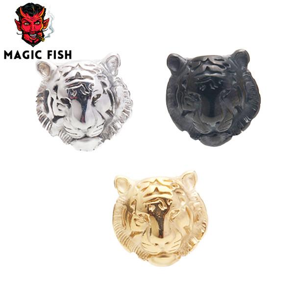 Cuentas baratas Tiger Head Charm Beads DIY Pulsera Collar 1pcs Accesorios de acero de oro para la fabricación de joyas de acero inoxidable de 14 mm Lotes al por mayor