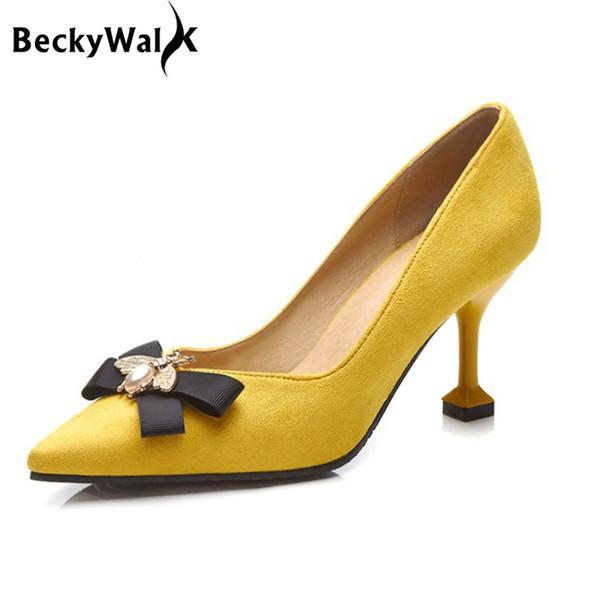 vendita all'ingrosso giallo / nero Stilleto primavera donna scarpe a punta scarpe da donna pompe ape bowknot scarpe con tacchi alti donna