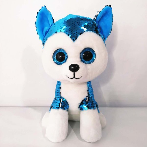 Sequin grands yeux jouets en peluche husky New jouets 24cm enfants peluche cadeaux enfants jouets en peluche Poupées cadeaux d'anniversaire d'enfants