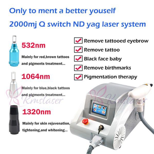 Rot und grau zwei colors2000MJ touchscreen 1000 watt Q geschaltet nd yag laser schönheit maschine tattoo entfernung Narbe Akne entfernung 1320nm 1064nm 532nm