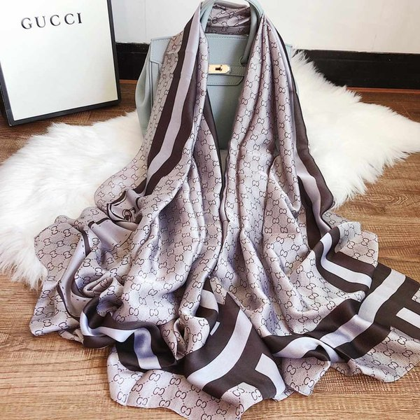 Famous Designer Silk Scarf Hot Sale Womens Luxury Fashion Shawl Scarf 4 Seasons Long Neck Ring Size 180x90cm 2 Colors with Gift Box Optional