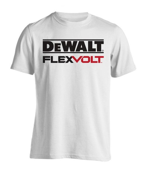 Dewalt Flexvolt Logo Combed 20s White T-Shirt Size S, M, L, XL, XXL, XXXL New High Quality Top Tee Print T Shirt Summer Style 100% cotton