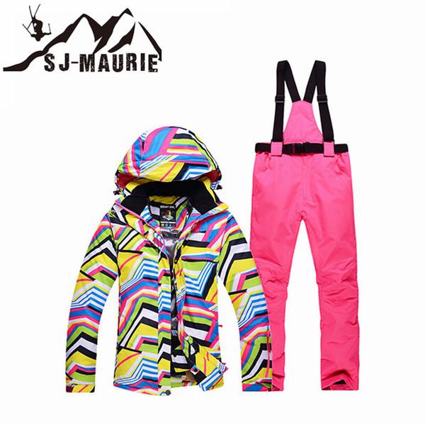 SJ-Maurie Mulheres Snowboard Terno de esqui Windbreaker impermeável quente jaqueta de esqui calças para meninas Snowboard Snow Suit
