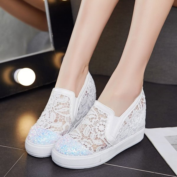 Sexy2019 Jacobs Ventilation Lace Leisure Time Thick Bottom Muffin Women's Shoes Slope With Within Increase Dawdler Student Single Shoe
