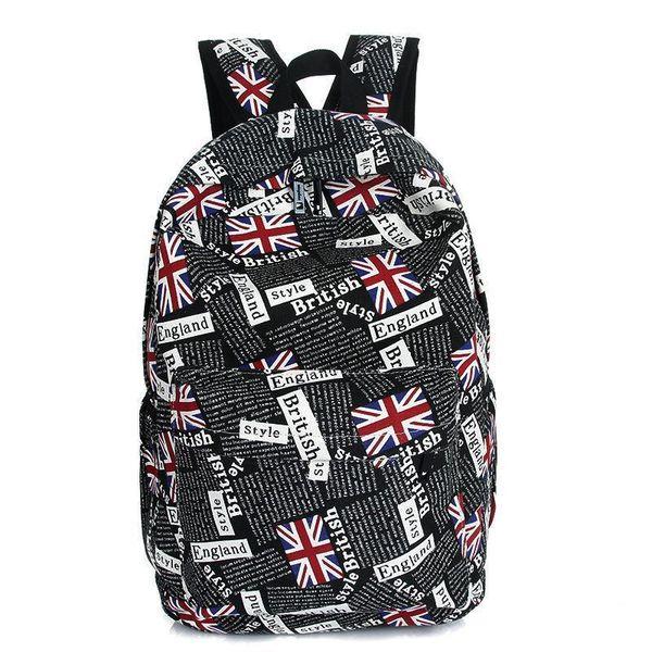 Pop Britische Berühmte Marke Frauen Leinwand Rucksack Flagge Druck Reisetasche Daypack Teenager Mädchen Jungen Unisex Schulter Schultasche
