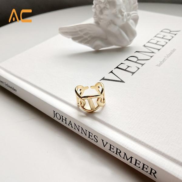 Son tasarım 925 ayar gümüş benzersiz hollow tasarım kadınlar için basit altın yüzük hediye ve günlük giyen