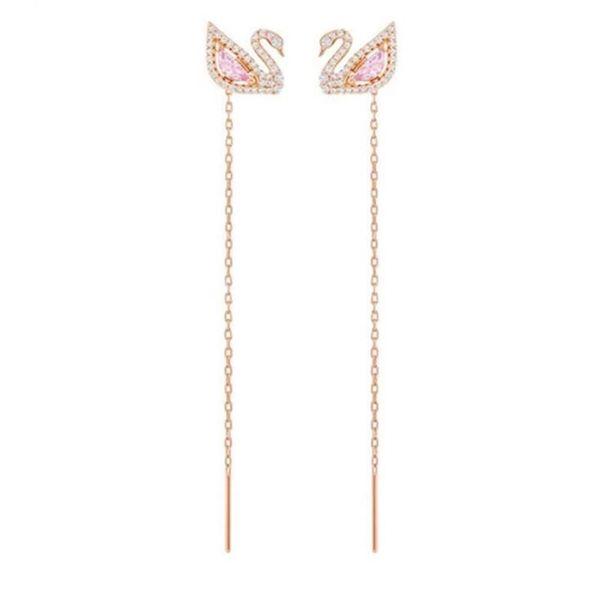 Diseñador de lujo Swan Stud Earrings para mujer marca pendientes largos borla con cristal rosa regalo de la joyería