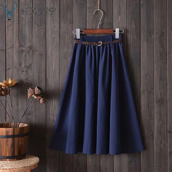 HXJJP Midi Knee Length Summer Skirt Women with Bow Belt 2019 Fashion Korean Ladies High Waist Pleated A-line School Skirt Female