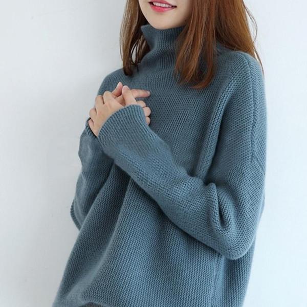 Womens 100/% Cashmere Outwear Turtleneck Sweater Warm Knitwear Korean Tops Size
