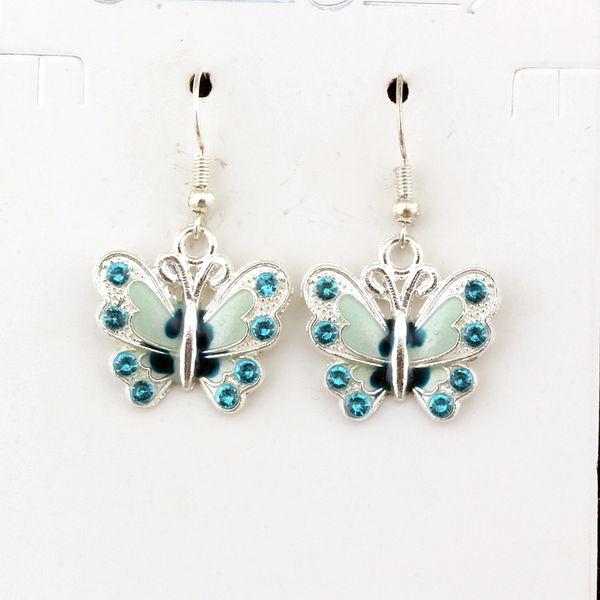 10 paia / lotto Blu strass smalto orecchini farfalla fascino argento pesce orecchio gancio gioielli lampadario 22x37mm A-505e