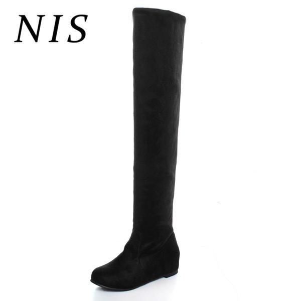 NIS Inverno Altura Crescente Mulheres Cavaleiro Longo Botas Slip-on Sobre O Joelho Botas AltasMulheres Sapatos de Camurça Do Falso Mulher Primavera Outono