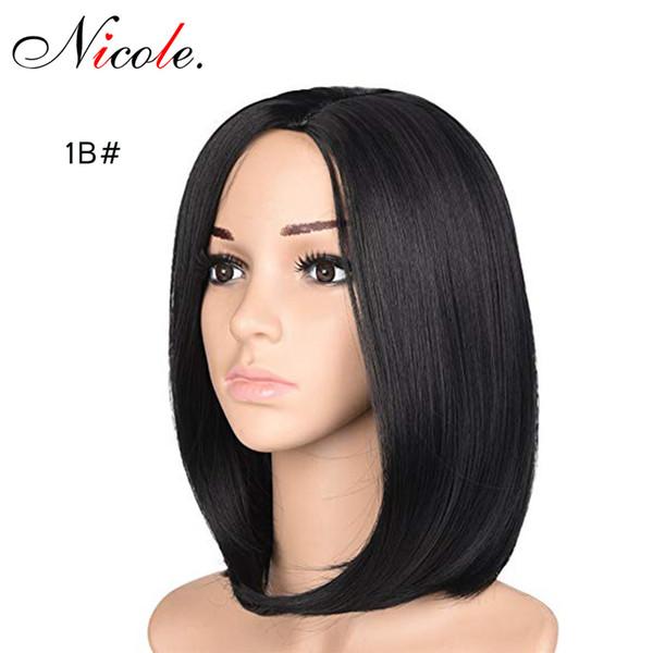 Николь Хэллоуина Боб парики Omber цвет короткое прямые парики волос Natural Black Synthetic Высокой температура волокно для чернокожих женщин Бесплатной доставки