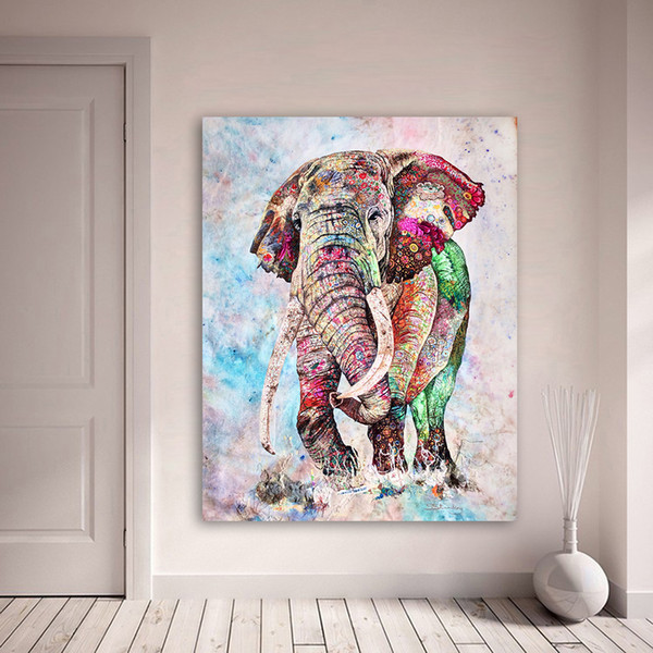 1 Pcs Wall Art Canvas Painting Animal Picture Colorful Elephant Forest Oil Print For Living Room Home Decor No Frame