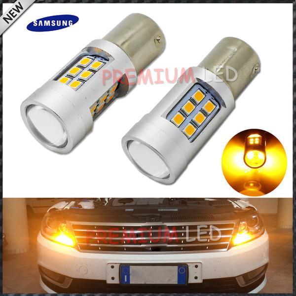 iJDM High Power Amarillo ámbar sin errores 21SMD-2835 LED BAU15S 7507 PY21W 1156PY Bombillas LED para luces de señal de giro delanteras, 7507