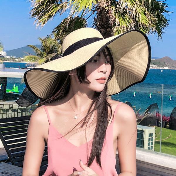 Primavera-Verão chapéu de palha dobrável Summer Beach Arco de Moda Hat mulheres elegantes Sun Proteção Grande Sun Edge Mulheres Hat
