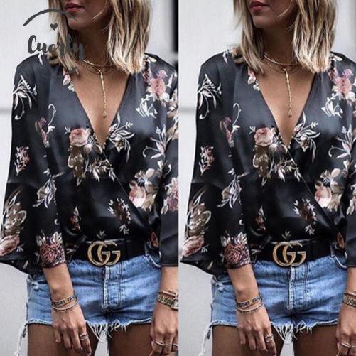 Блуза рукавом Длинные женские рубашки V шеи Топы Printed флористического Фитнес Женщины Top Зима Женская одежда