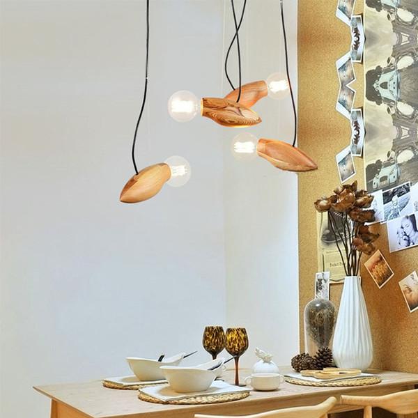 Luz moderna LLEVÓ la Lámpara de Madera Dormitorio Sala de estar Restaurante Estudio Deco Lámpara Mesita de noche Lámparas Colgantes Accesorios de Iluminación Arte