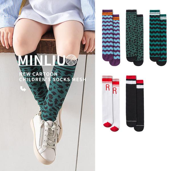 Dos desenhos animados Casual Crianças Knit Knee Meias Altas atlético estudante meias cootton meninos meias crianças roupas de grife meninas meias crianças roupas A6805