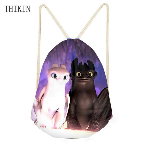 THIKIN Swimming Bag How To Train Your Dragon Print School Students Backpack Kids Birthday Draw-string Bags Outdoor Sports Bag #1007378