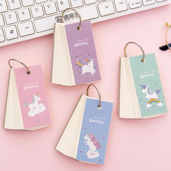 Cartoon Mini Rainbow Unicorn Notebook Ring Buckle Blank Word Book Card Tearable Notepads Stationery gift Cute memo pad