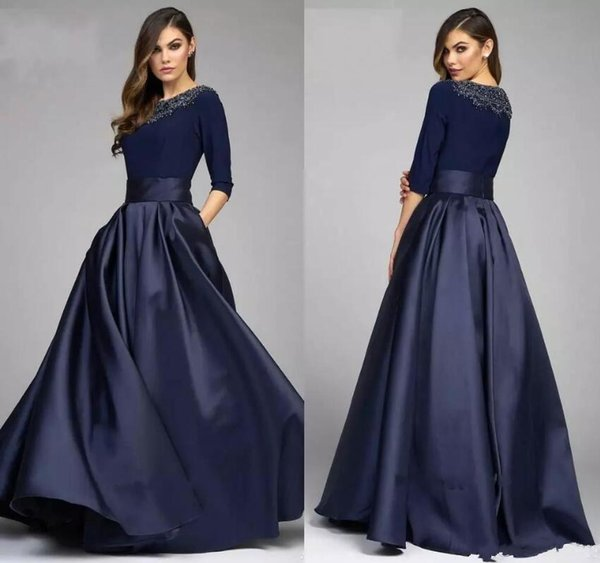 Mother of the Bride Groom Dresses With Half Sleeves Modest Beaded Long Evening Formal Gowns Custom Made Mother's Dress